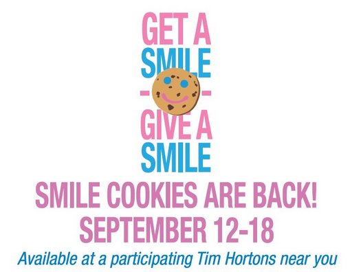 Smile cookies are back! From Sept 12-18 purchase a #SmileCookie and your full $1 will help support @Nutrition4Learn https://t.co/oaSUpPxZSa