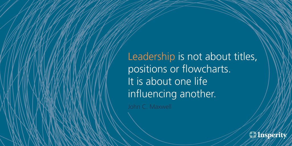 """Leadership is not about titles, positions or flowcharts. It is about one life influencing another.""  John C. Maxwe… https://t.co/9jS55ym2mF"
