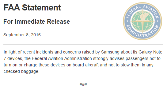 FAA Statement on Samsung Galaxy Note 7 Devices https://t.co/NADpT5Jma4 https://t.co/e9uJvNmUUq