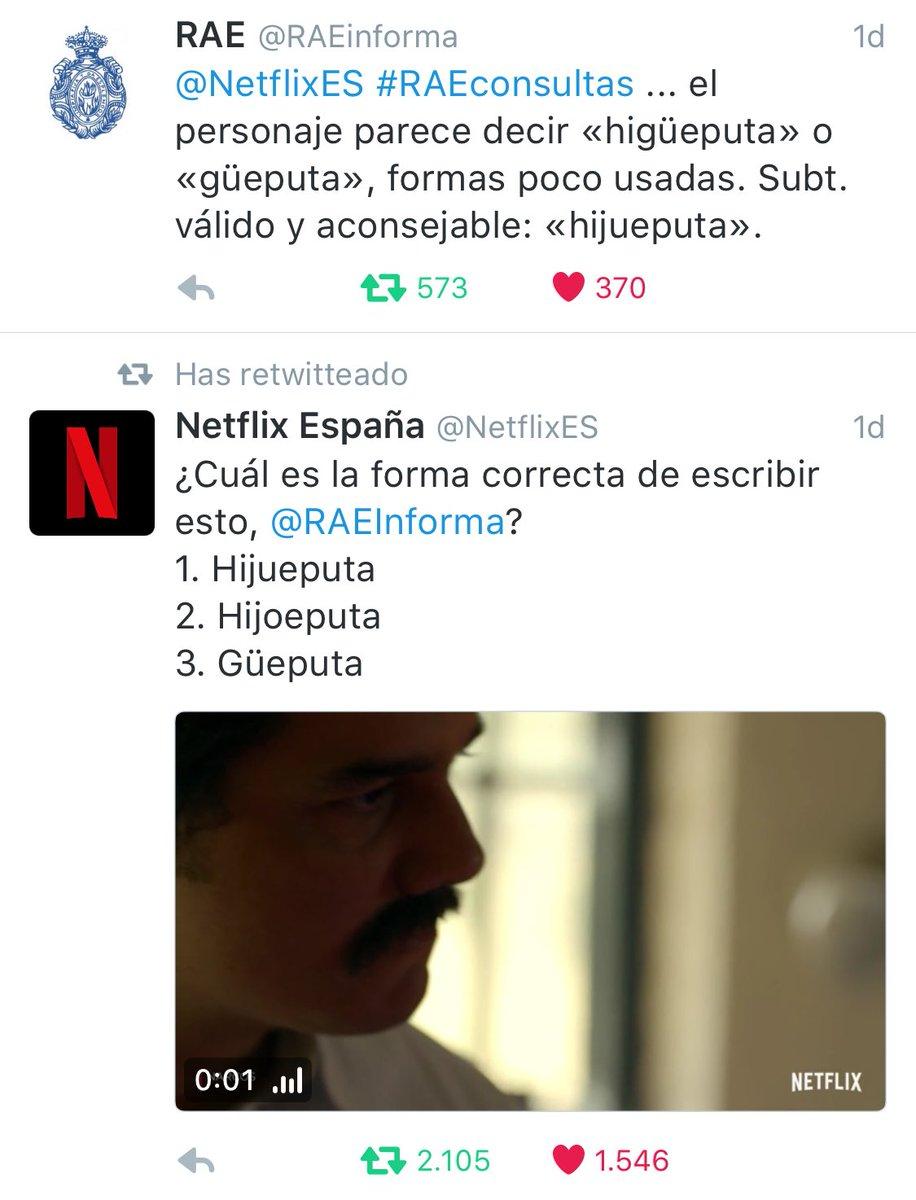 Somos muy fans de la @RAEinforma y de @NetflixES  #Hijueputa https://t.co/imJj0oNnng
