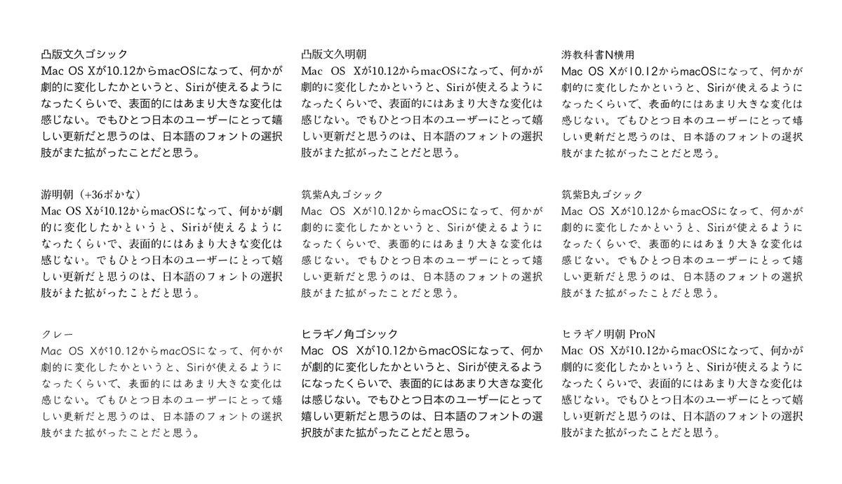 macOS 10.12でさらに日本語フォントが追加され、標準日本語フォントの充実度では他のOSを圧倒してる感じ。いくつかピックアップして比較してみた。凸版文久明朝が好きかも。 https://t.co/NzC0iUgcmD
