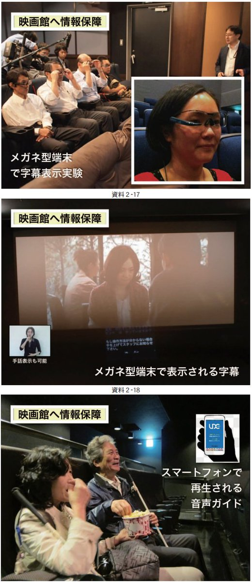 米国映画館での字幕器はADA法で義務。日本も障害者差別解消法の制定で配慮が必要となった。  シン・ゴジラ字幕で観たし、七人の侍再上映あれば俺は要字幕。  障害者映画視聴環境の調査報告書 https://t.co/X04DZjeuYo https://t.co/JRE9GVa3xj
