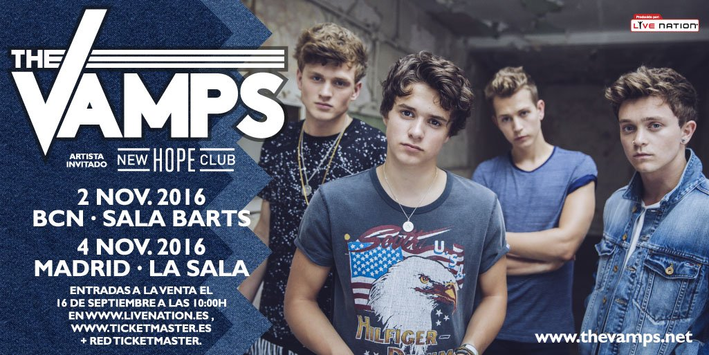 ¡@TheVampsband vuelven a BCN y MAD en noviembre! Preventa exclusiva el 15/9 a las 10am en https://t.co/Q9PRyJNKeG https://t.co/BmcFU1pt64