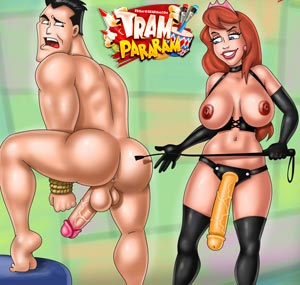 And hard femdom cartoon parody here! Big dildo in men's asshole! Like it very much! Do you? #femdom #trampararam