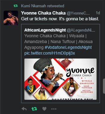 Get ur tickets now. It's gonna be a blast. @YvonneChakaX2 #QouteOfTheDay  #VodafoneLegendsNight https://t.co/vGm7PSz7wo