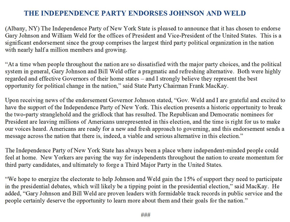 The NY Independence Party has endorsed the Gary Johnson-Bill Weld ticket https://t.co/bt33lnlz45