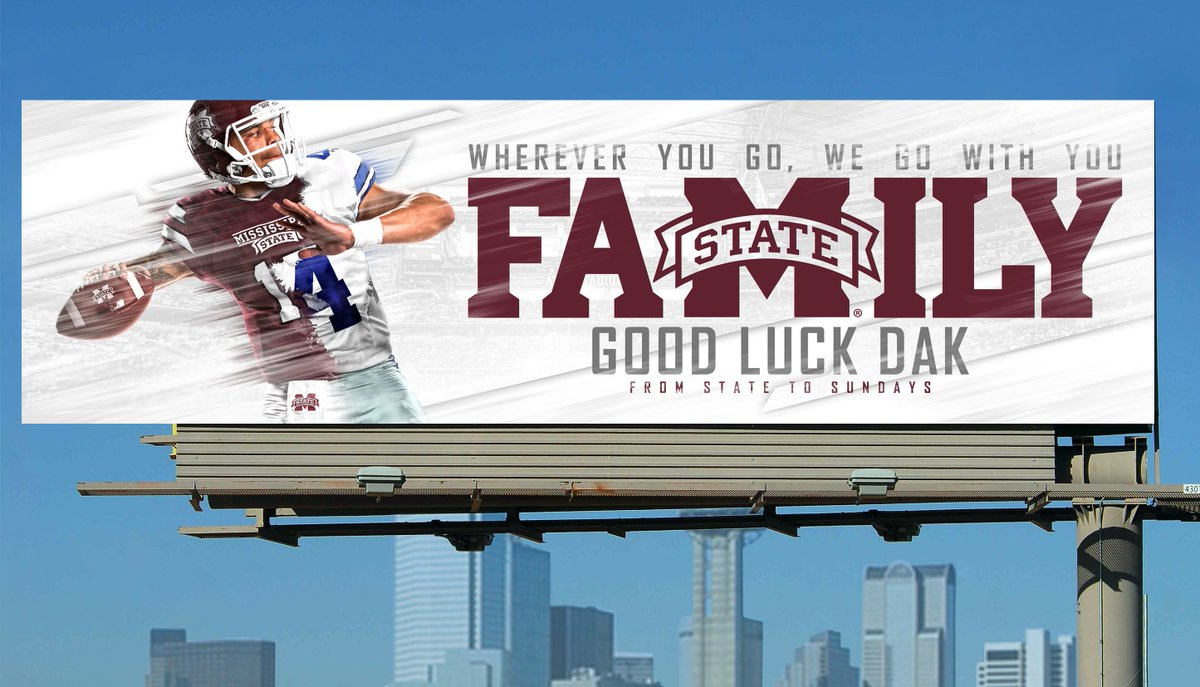 #FromStateToSundays | @15_DakP billboards on display Sunday in Dallas   #HailState   https://t.co/OLVcU0zTGS https://t.co/iIytQFITq0