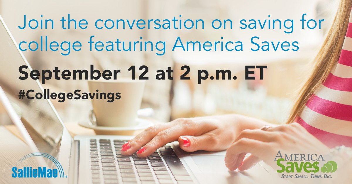 Save the date! We're joining @SallieMae for a tweet chat on #CollegeSavings on Mon. at 2p ET. Hope to see you there! https://t.co/tICKalQAjm
