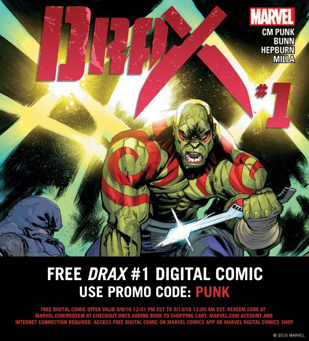Celebrate @CMPunk's #UFC debut tomorrow by reading his DRAX comic FREE! Use code PUNK on