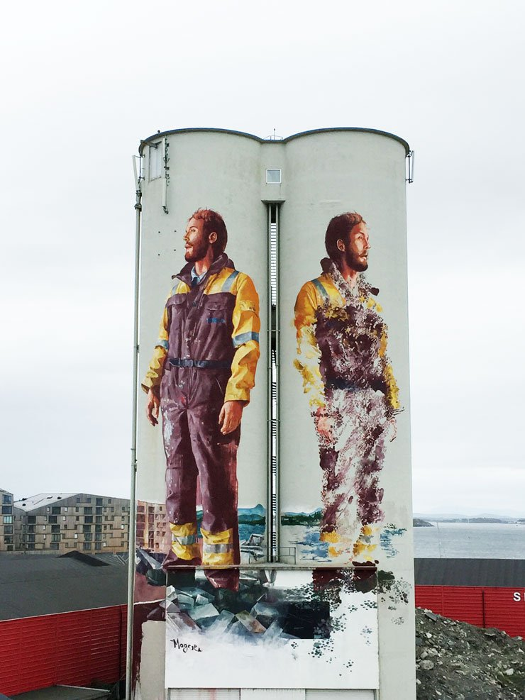 Fintan Magee completed his colossal diptych @ NUART 2016 on the port of Stavanger, NO @NuartFestival #fintanmagee https://t.co/CX240gPd7O