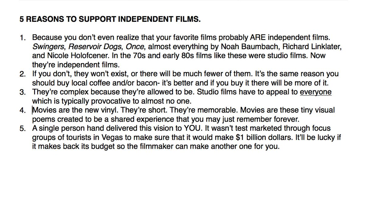"After seeing ""Hell or High Water"" (which i loved) I jotted down some reasons to support indie films. RT if u agree. https://t.co/lyTemxlrSW"