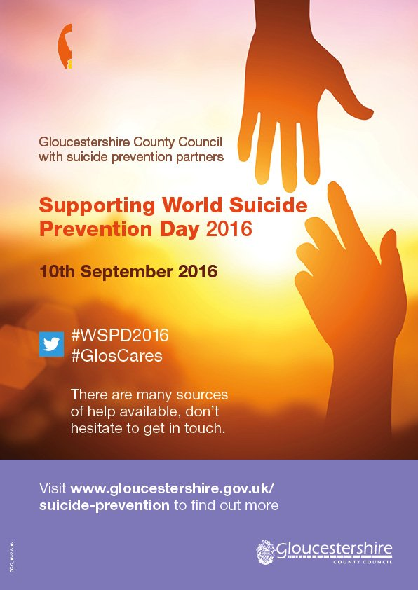 Today is World Suicide Prevention Day 2016. Tackle the stigma by making your pledge using #GlosCares & #WSPD2016 https://t.co/PXtnN7S1Hz