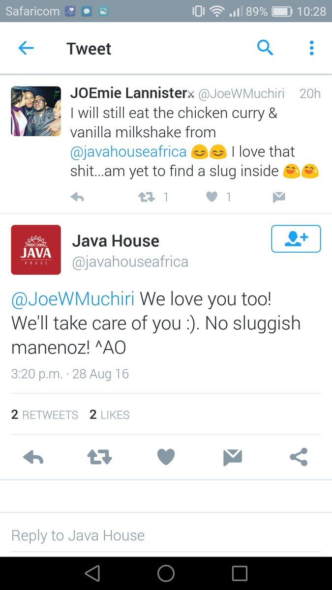 Really tasteless jokes by Java after the slug-in-scandal maneno https://t.co/QP1Ao3bk9o
