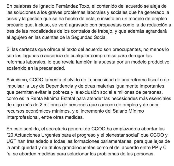 """Para @CCOO el acuerdo entre @PPopular y @CiudadanosCs es """"más de lo mismo""""  https://t.co/Q8HnRurppU https://t.co/0CGwydeNB0"""