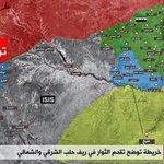 #الجيش_السوري_الحر خريطة توضيحية للمناطق المحررة ومناطق الاشتنباك والمسافة التي تفصل قوات #درع_الفرات عن منبج https://t.co/iQkiArfToL