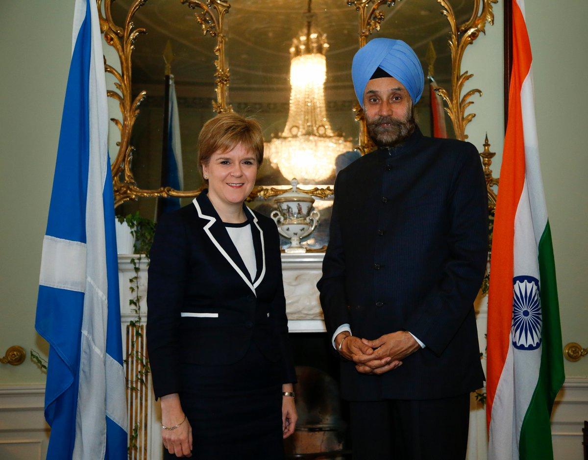 HC @NavtejSarna met Scotland First Minister @NicolaSturgeon last week to discuss India-Scotland ties. MT @HCI_London https://t.co/OHrAVdlmNo