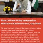 Mann Ki Baat: Unity, compassion solution to Kashmir unrest, says Modi https://t.co/m0sp9RwERZ via NMApp https://t.co/8EEOMHllnj