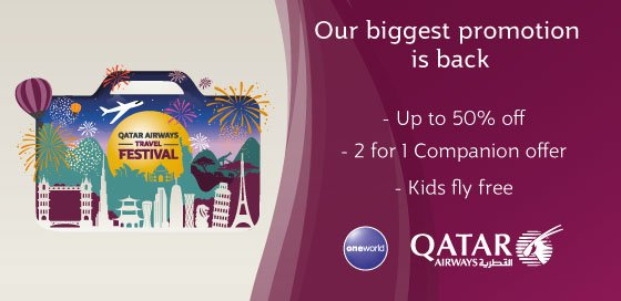 . @qatarairways biggest promotion is back! Save up to 50%! Book by 6th September.
