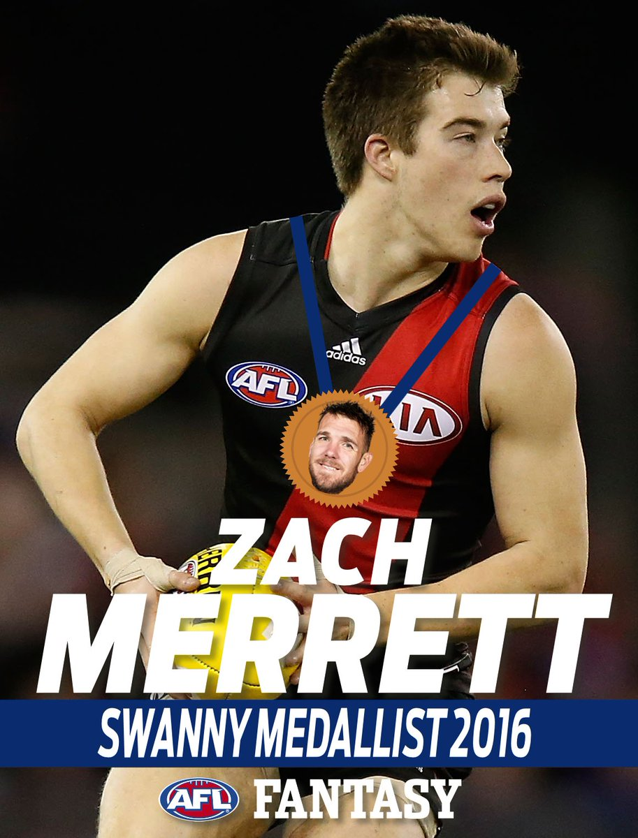 "Congratulations to @zachmerrett07 on winning the inaugural ""Swanny Medal"" for the #AFLFantasy MVP of 2016. https://t.co/Ruk2uLbV1F"