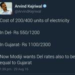 Pic1:Elect. Rate Comparison btwn Gujarat & Delhi. Pic2:False claim & Blame on Modiji by Shameless CM @ArvindKejriwal https://t.co/nC6y2NnP9v