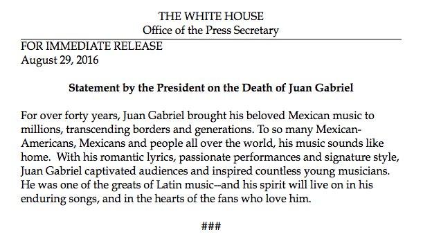 Así de grande fue #JuanGabriel .Hasta el Presidente Obama envió un comunicado tras su muerte. https://t.co/lrPeFPegDN