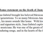 """Pres. Obama on the death of iconic Mexican singer Juan Gabriel: """"his spirit will live on in his enduring songs"""". https://t.co/apwh0JslbR"""