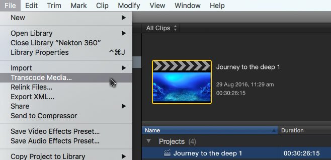To make proxies for only the clips used in a #fcpx project, select the project, then File:Transcode Media… https://t.co/fR7vav9vSN