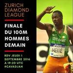 #ZurichDL Cest pour demain à #19H20MN UTC pour voir le gagnant remporter le diamant de la saison 2016 #CaVaDjah https://t.co/0CkmsVFdem