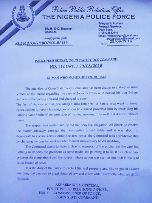 Ogun Police Statement On Joachim Iroko, Man Who Named His Dog Buhari - Pets