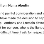 Huma Abedin and Anthony Weiner are separating, Abedin says in a statement. https://t.co/0EvJBKLt33