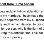 Huma Abedin and Anthony Weiner are separating https://t.co/4WVZxfTMmo