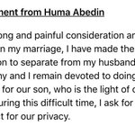Just out: Statement from Huma Abedin regarding NY Post story on Anthony Weiner: https://t.co/i9NrSDjoUj