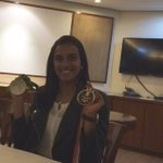 besides Rajiv khel Ratna and on the other hand Olympic silver medal it is😛😛 @shravyavarma ..☺️☺️😘 #hecticday🙏🏻(2/2) https://t.co/hBqcgea1Fs