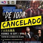 Hay pobre @ElGeorgeHarris oficialmente cancelo su show en Panamá. Y tuvo que regresar los 20 boletos q había vendio https://t.co/s8J3YwAiWo