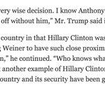 Trump to @patrickhealynyt @amychozick on Huma: https://t.co/OVl6KyHi21 https://t.co/Y60r3CaHWH