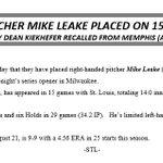 Cardinals put Leake on the DL: Kiekhefer recalled #STLCards https://t.co/3YpvnGyktw