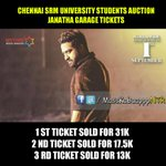 Chennai SRM University Students Auction #JanathaGarage Tickets 1st ticket sold for 31K 2nd ticket 17.5K 3rd 13K https://t.co/kHaDjwoYWb
