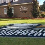 Giant Georgia Southern Logo painted on the front lawn - Check - more to come - #PTB2016 #TameTheTigers https://t.co/2CNyqLfWZM