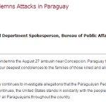 EEUU Condena Ataque en Paraguay https://t.co/TWzTJBfTNk