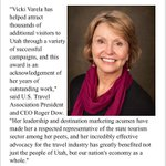 #Utah Office of Tourism Director Vicki Varela named National State Tourism Director of the Year. #utpol @abc4utah https://t.co/33TCT9GfDw