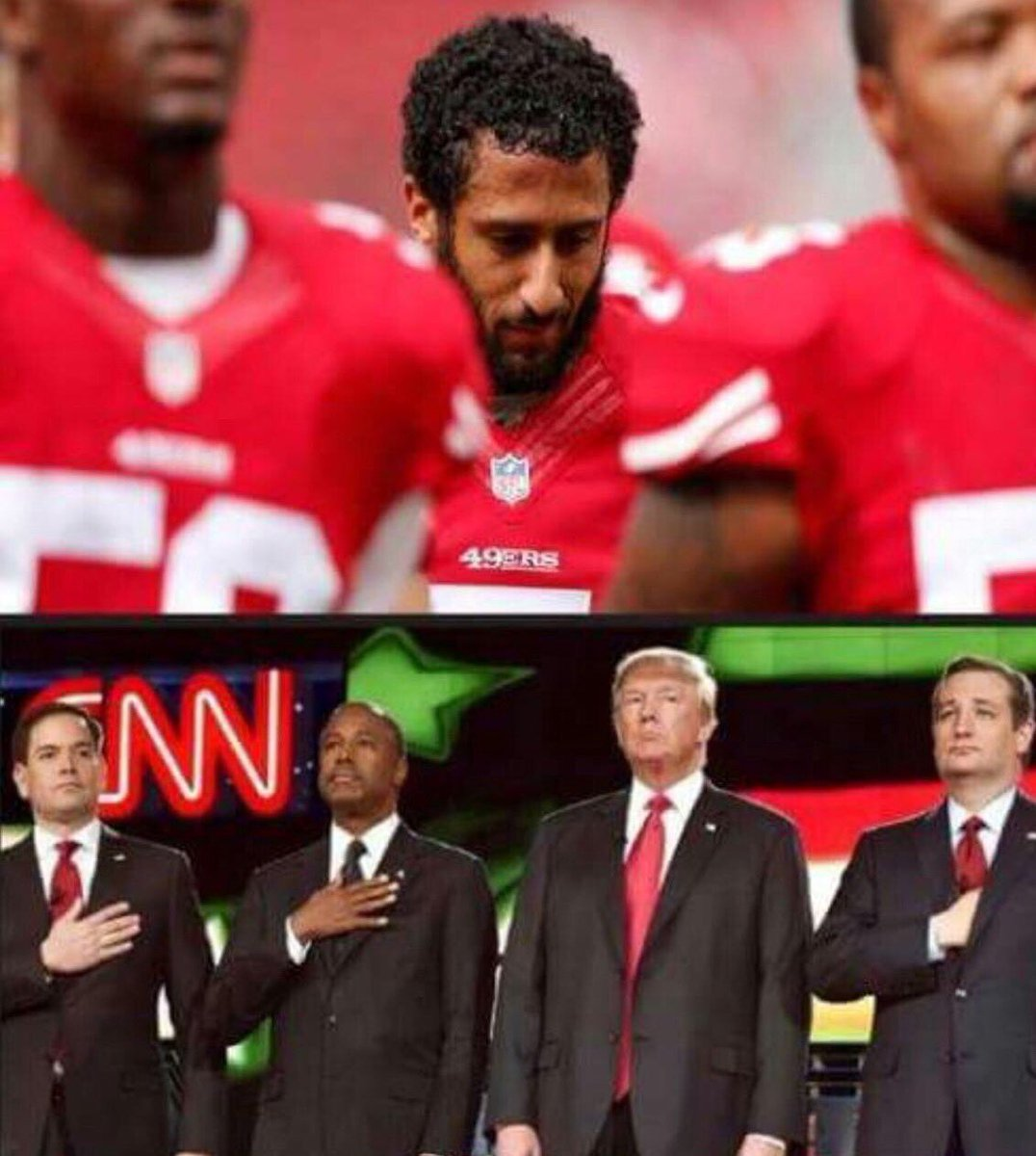 U know we're in trouble when ppl care more about a QB than a prez candidate not saluting the #nationalanthem. https://t.co/Ousdts8xm3