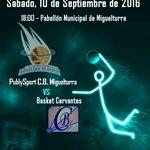 Trofeo Villa Miguelturra  @publysport @CBMiguelturra  Vs.  @BASKETCERVANTES Sábado 10 18 h. Pabellon Municipal https://t.co/jIoEJ4lxps