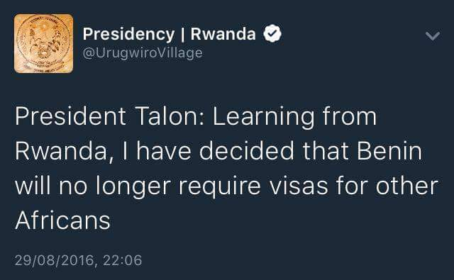 "Benin has gone #Rwanda. I think we should adopt the term ""Go Rwanda"" for free movement of Africans in Africa. Pls RT https://t.co/K92SUQLBJt"