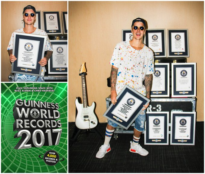 Justin Bieber @justinbieber: RT @GWR: .@justinbieber sings his way into the new #GWR2017 book with a set of 8 record titles! https://t.co/2aY8af6Ew5 https://t.co/mqCkKk…