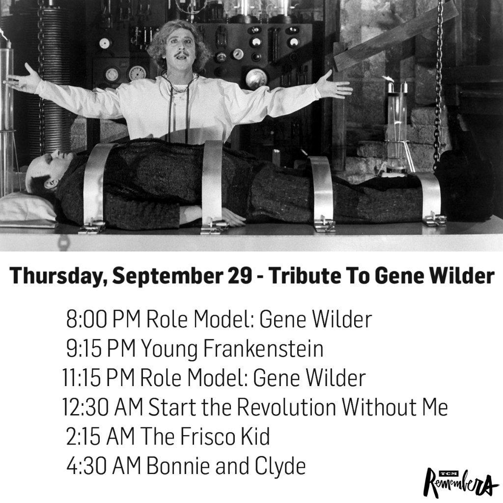 .@tcm to Remember Legendary Comedic Actor Gene Wilder on Sept. 29 - See more at: https://t.co/hT0hQcFBjP https://t.co/o4aiowYg0I
