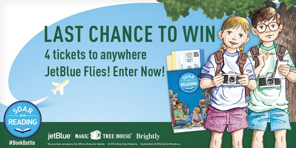 Win 4 tickets anywhere we fly and a Magic Tree House library! Enter now! @readbrightly