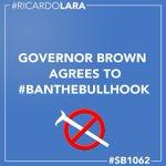 BREAKING: @JerryBrownGov agrees to #banthebullhook w/ signature of #SB1062 @HumaneSociety https://t.co/1j6ePnTcqz
