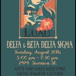 Join Beta & Delta tomorrow night for a Luau! Beta boys will be grilling & be sure to come in your hawaiian wear!🌺🌴 https://t.co/zqDDloIWbx