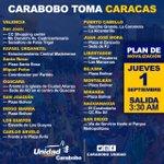 #ATENCIÓN #CARABOBO Este es el Plan de Movilización para la #GranTomaDeCaracas #1Sep #DaRT https://t.co/ucVBM76JxV
