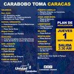 Puntos de salida de los 14 municipios de #Carabobo a la #GranTomaDeCaracas Venezuela cuenta contigo!! https://t.co/h842gFu4Ik